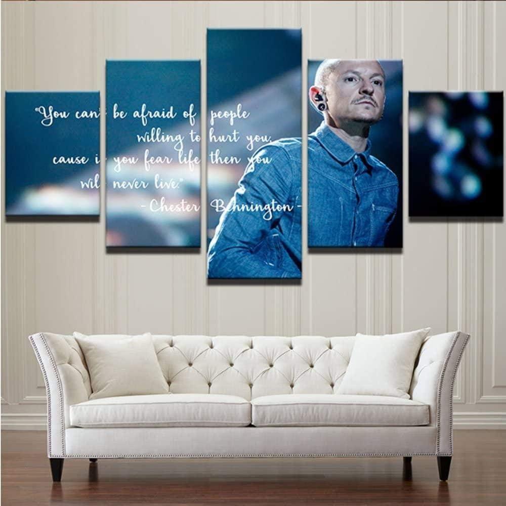 RuiYa Wall Art marco 5 pared lona pintura 50x25cm Personajes de fondo azul simple famosos imágenes Cartel Mural impresiones dormitorio cuadro hogar Póster arte arte de pared carteles fotos modulares i