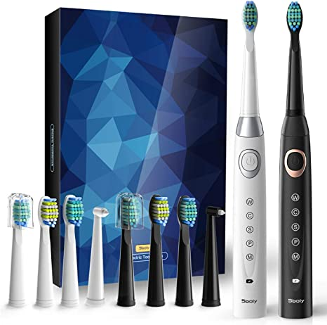 Sboly 2 Sonic Electric Toothbrushes 5 Modes 8 Brush Heads USB Fast Charge Powered Toothbrush Last for 30 Days, Built in Smart Timer Rechargeable