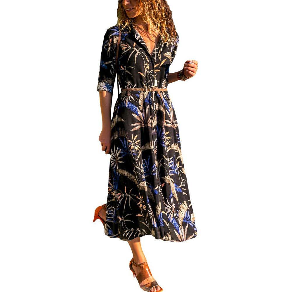 Ulanda 2018 Autumn Womens Printed Long Sleeve Dress Hem Lapels Belt Shirt Dress with Pockets Long Dress by Ulanda