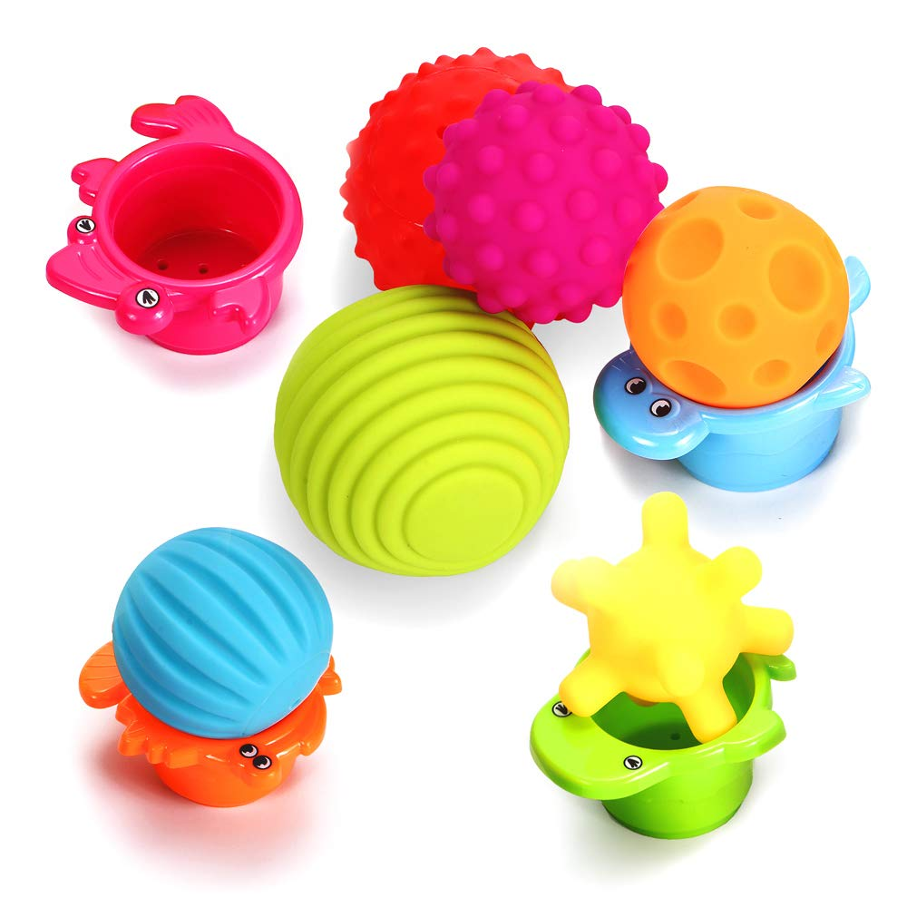 Sensory Balls for Baby- Great Variety In Texture and Color - Kids Rainbow Bath Toys- 6 Colorful Soft and Squeeze Sensory Toy + 4 Stacking Cups Set for Babies & Toddlers - Kids BPA Free Water Toy OleOletOy .