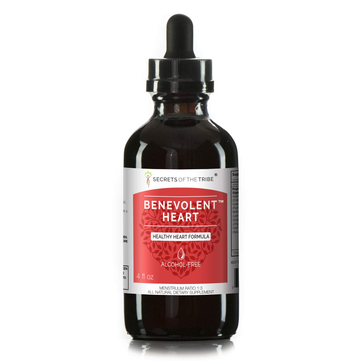 Benevolent Heart Alcohol-Free Extract, Tincture, Glycerite Hawthorn, Kudzu, Motherwort, Ginger, Celery. Healthy Heart Formula (4 fl oz)