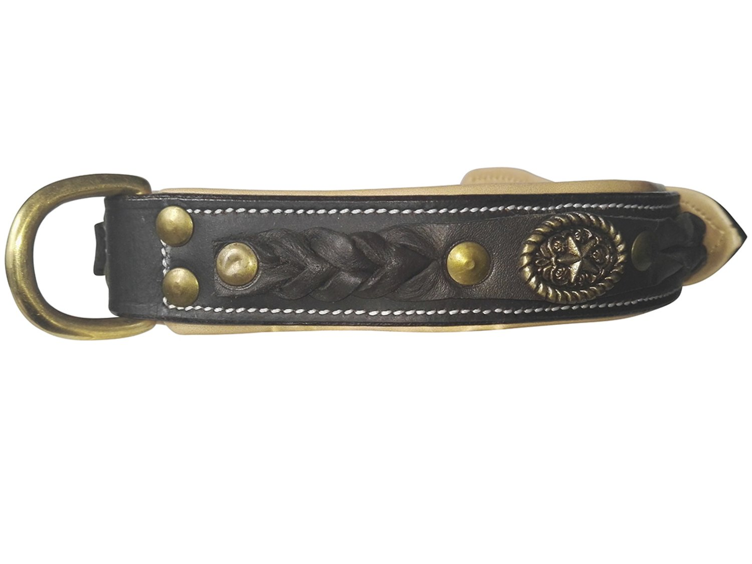 """Neck size 17.7"""" – 21.6"""" Bear&Goodies hand made brown leather collar with weave detail"""