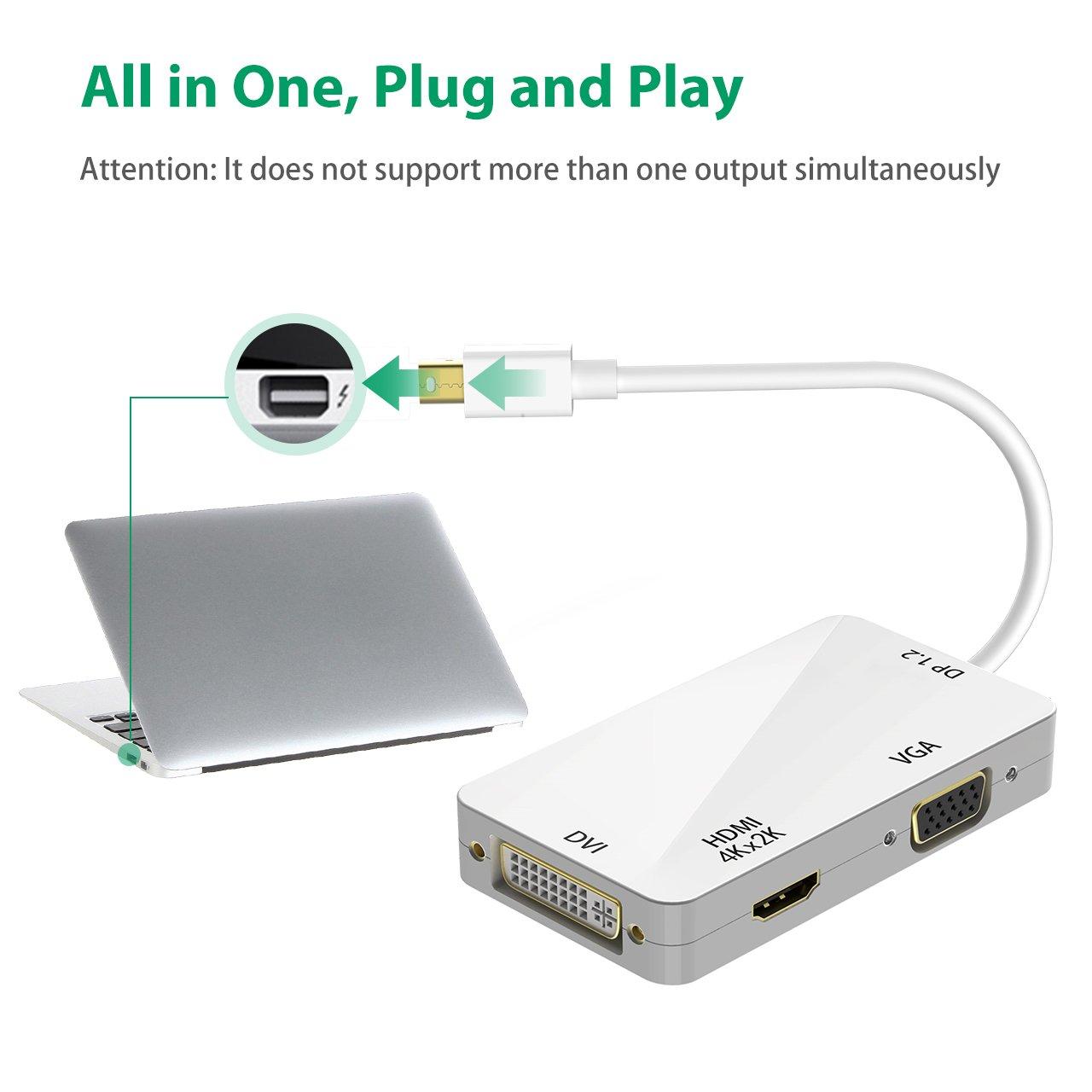 Victsing 3 In 1 Mini Displayport Thunderbolt To Hdmi Dvi Vga Converter Display Port Dp Adapter 4k