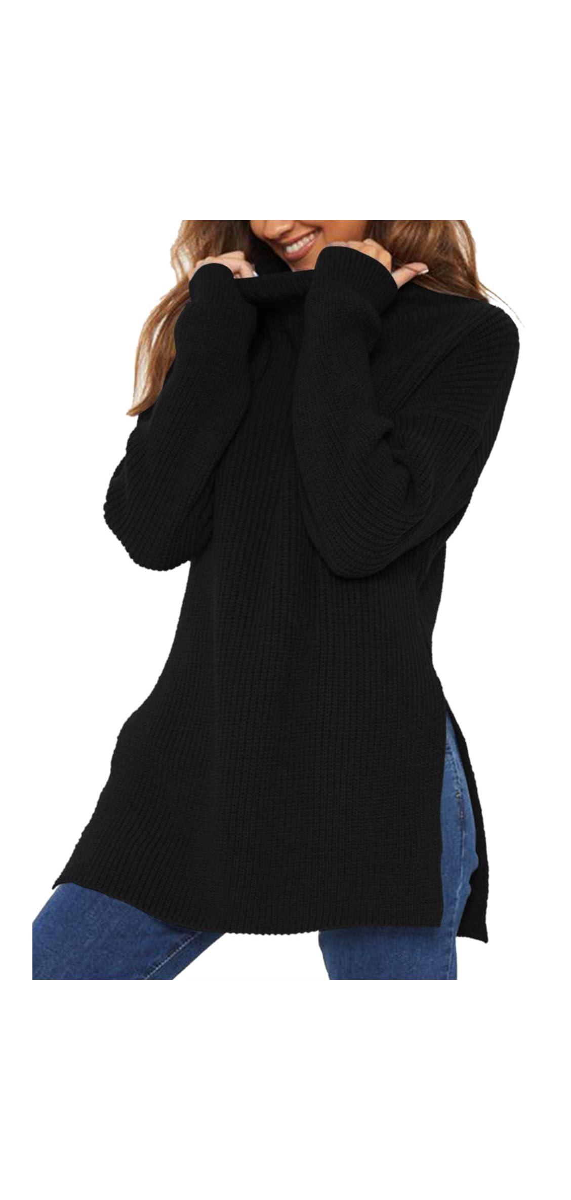 Women's Long Sleeve Mock Neck Side Split Chunky Knit
