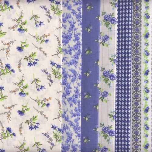6 Fat Quarters Set (Sapphire Blue) Co-ordinating French Fabric Mini Designs 100% Cotton