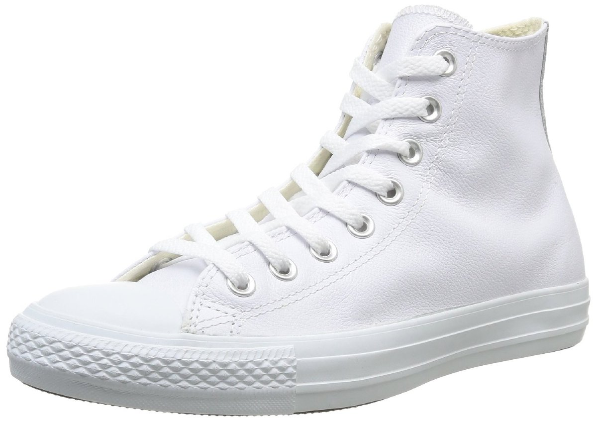 a94a74fd175de Converse Unisex All Star Leather Hi Sneaker,White Monochrome,Men's 3.5  M/Women's 5.5 M