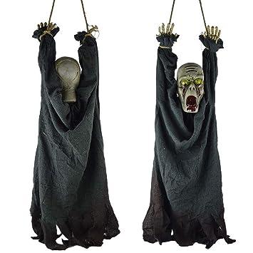 Morbuy Halloween Voz Decoracion, Tenebrosos Colgantes Zombie Colgante Fantasmas Horror Props Decoracion para Fiesta (