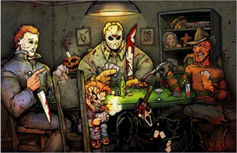 ZFSXmas Rompecabezas 1000 Piezas para Adultos Película de Terror Payaso Personaje Chucky Juegos educativos, Brain Challenge Puzzle Juguete para niños Niños