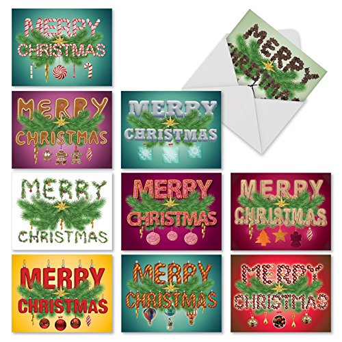 M10002XS Christmas Greetings: 10 Assorted Christmas Fold Over Note Cards Say Merry Christmas, w/White Envelopes. (Christmas Cards Sayings Inside Of)