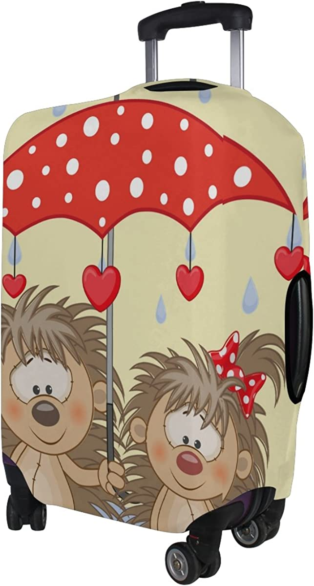 LAVOVO Two Hedgehogs With Umbrella Luggage Cover Suitcase Protector Carry On Covers