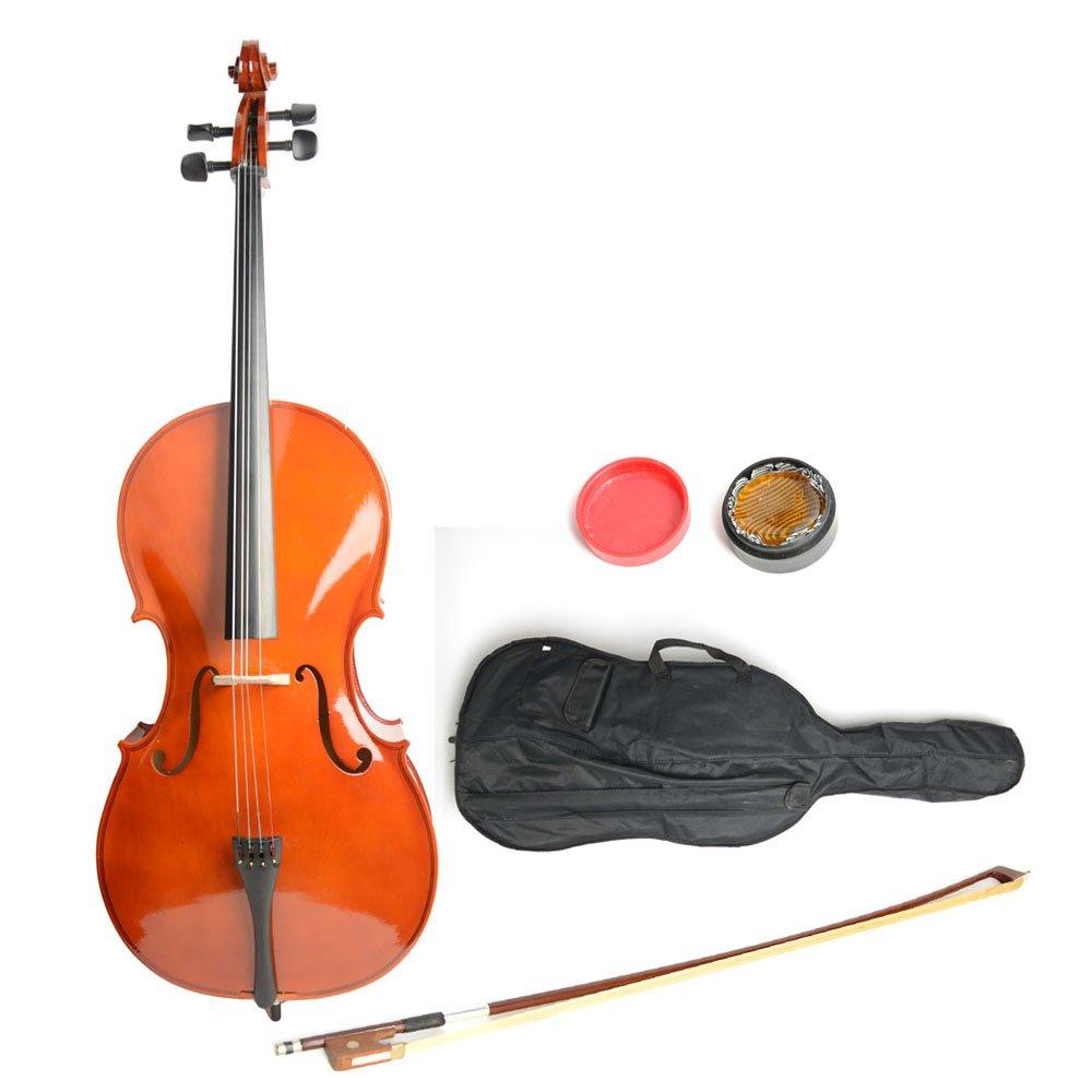 VIPITH 4/4 Retro Style Cello + Case + Bow + Rosin Wood Color Beautiful Varnish Finishing