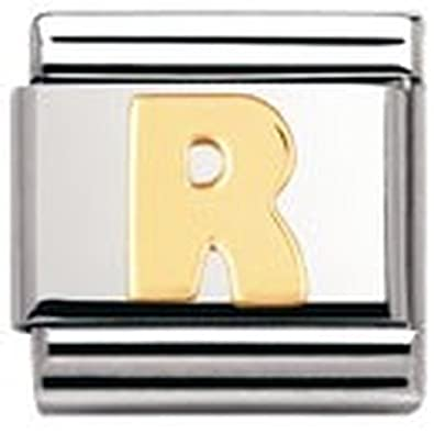 Nomination Composable Classic Letter R Stainless Steel and 18K Gold mnJGUXfG