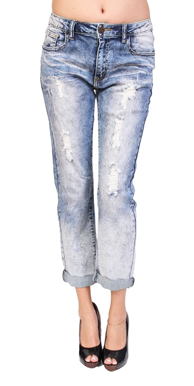 Machine Jeans Women Distressed Acid Wash Boyfriend Jeans With Whisker Detail