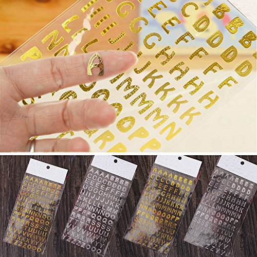 Shxstore Personalized ABC Stickers Cursive Letter Stickers Alphabet Stickers Scrapbooking Supplies, 4 Sheets