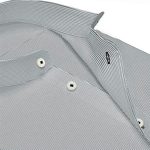 ワイシャツ 軽井沢シャツ [A10KZZSA1]スタンドカラー AZEK 高通気 ホワイト×ブラックミニストライプ らくらくオーダー受注生産商品