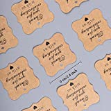 Paper Gift Tags Thank You for Celebrating with Us, Whaline 100 Pcs Paper Hang Tag for Wedding Party Favors, Baby Shower with 100 Feet Natural Jute Twine (Heart Brown)