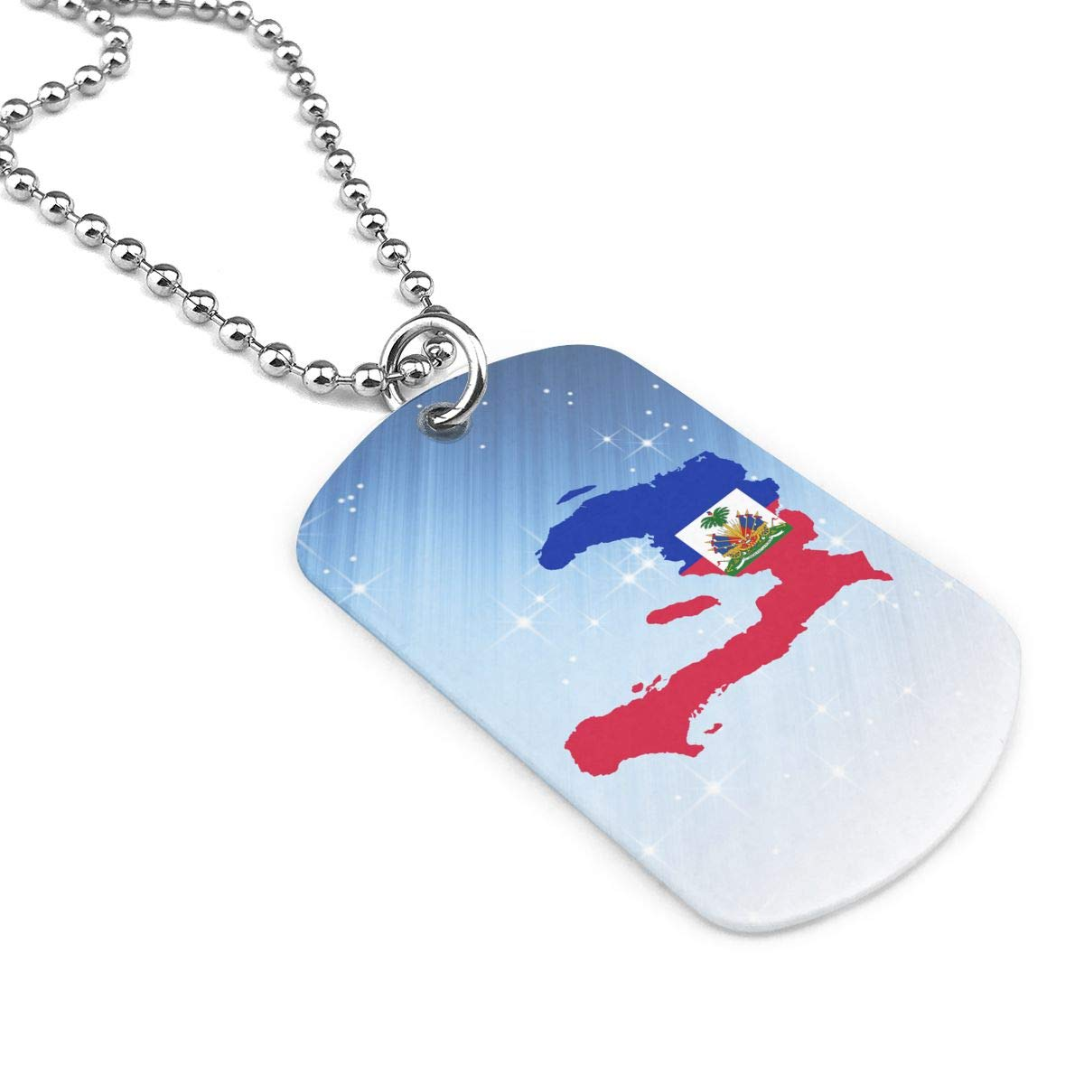 Military Necklace Flag Map Of Haiti Custom Zinc Alloy Pendant Necklace Dog Tags