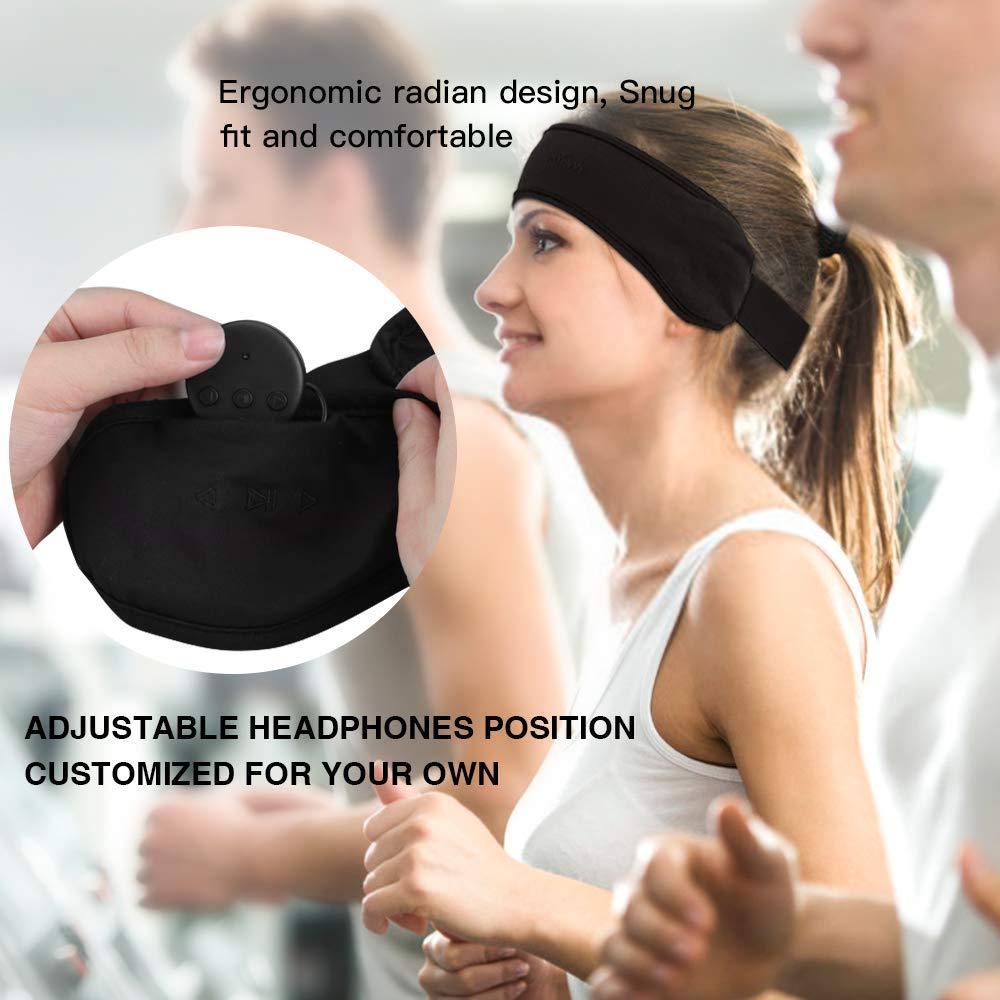 AGPTEK Bluetooth 4.1 Wireless Eye Mask with Detachable Thin Speaker for Side Sleepers,Sleeping Sports Meditation /& Relax Women Men,Black Bluetooth Headband Sleep Headphones Snoring Travel