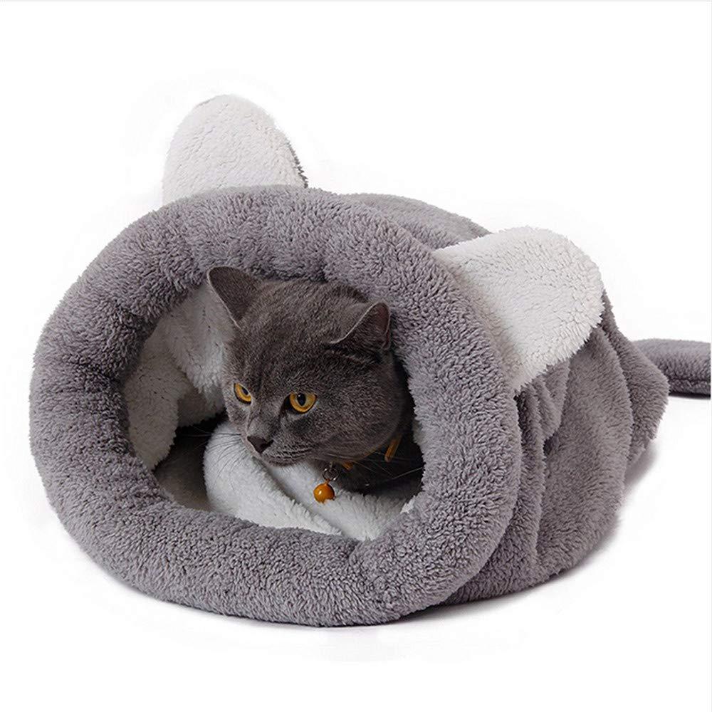Wuwenw Cute Grey Dog Bed Sofá Suave Kennel Cat'S Winter Cat Dog Camas para Perros Pequeños Suministros para Mascotas Cama para Perro