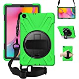 ZenRich Galaxy Tab A 10.1 Case 2019 T510 T515, Shockproof Heavy Duty Rugged Case with 360 Rotating Kickstand Hand Strap Shoul