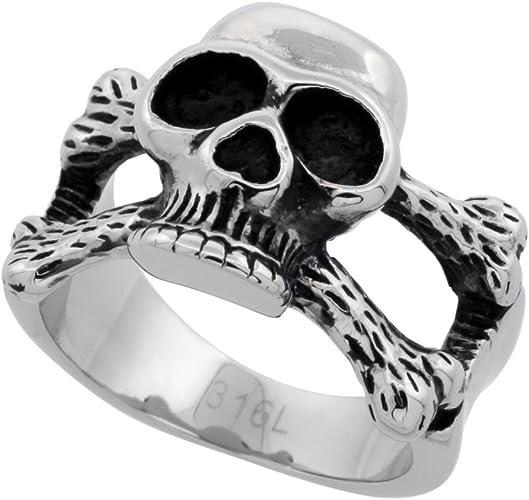 Stainless Steel 2 Color Skeleton Skull Bone Biker Ring