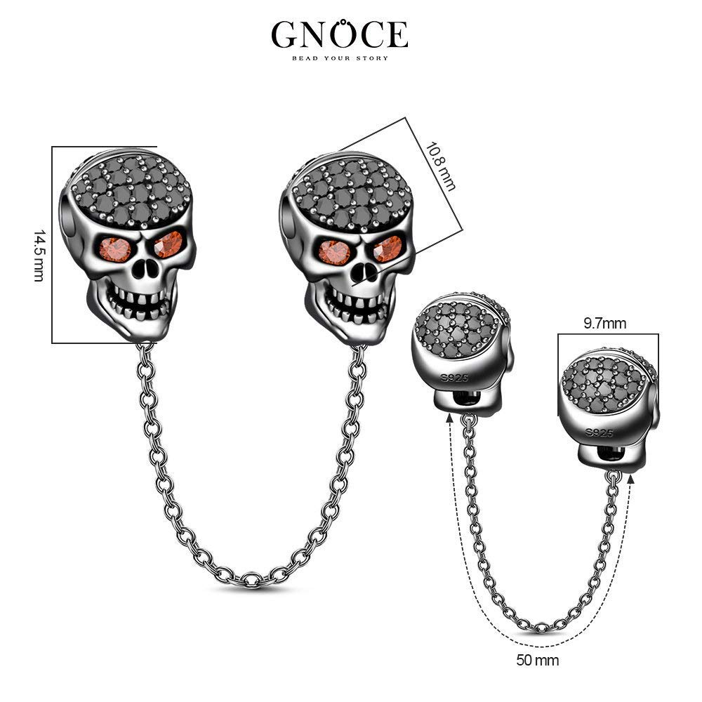 GNOCE Womens Skull Charms for Bracelets 925 Sterling Silver Charm for Women fit US European Bracelets Necklaces
