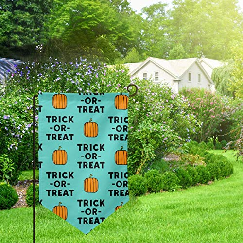 Garden Outdoor Flag Banner Trick Or Treat Stack Teal Halloween LADBS Decorative Weather Resistant Double Stitched 18x12.5 Inch ()