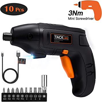 Electric Screwdriver Front LED Light-SDP60DC Newbies and Experienced Tacklife Cordless Screwdriver Rechargeable 1500 mAh Li-on Battery with 10 Pcs Bonus Screw Bits for Home DIY and Fit for Ladies