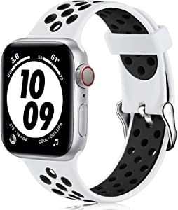Nofeda bands Compatible with Apple Watch Band 38mm 40mm for Women Men,Soft Silicone Waterproof Breathable Replacement Wristband Sport Strap for iWatch Series 1/2/3/4/5/6/SE, White/Black ,M/L