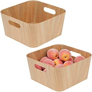 mDesign Food Storage Container Bin with Handles - for Kitchen, Pantry, Cabinet, Fridge/Freezer - Narrow for Snacks, Produce, Vegetables, Pasta - Food Safe - 12