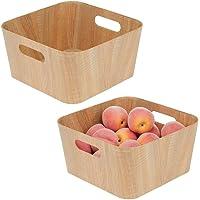 mDesign Wood Grain Kitchen Pantry Cabinet, Food Storage Bins with Handles - Organizer for Fruit, Yogurt, Snacks, Pasta…