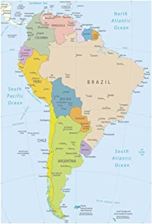 South America Wall Map Amazoncouk Office Products - S america map