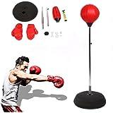 Punchingball Erwachsene Boxtraining Set Trainer Speed-Ball Standboxball mit Boxhandschuhen und Ständer Verstellbar Höhe 120-150 cm Rot