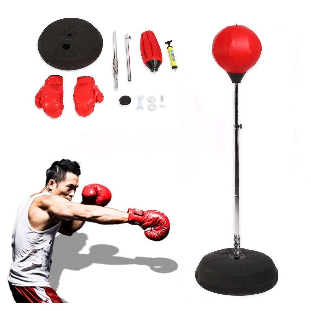 Saco de Boxeo Saco de Suelo para Práctica de Boxeo con Aguantes para Adultos con Soporte Ajustable de 120-150cm con Accesorios, inclinación hasta 90º, Color Rojo Yosoo