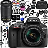 Nikon D3400 DLSR Camera (Black) with 18-55mm & 70-300mm Lens 26PC Accessory Bundle