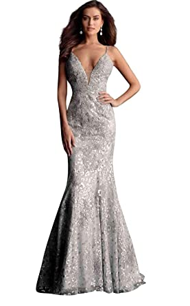 527f50400 Jovani 62750 Embroidered Deep V-Neck Mermaid Dress with Train in Silver