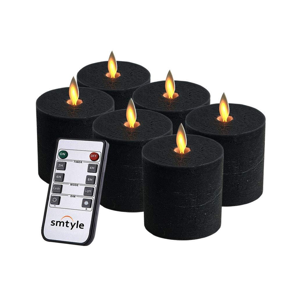 smtyle Black Flameless Candles Haunted Prop Flickering Realistic Bright Pillar Candle Light with Remote Control Timer Battery Operated 3x3in Pack of 6 by smtyle