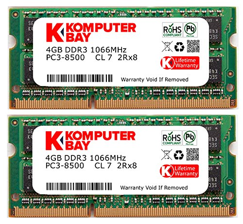 Komputerbay 8GB Dual Channel Kit 2x 4GB 204pin 1.5v DDR3-1066 SO-DIMM 1066/8500S ( 1066MHz, CL7 ) for MAC and PC