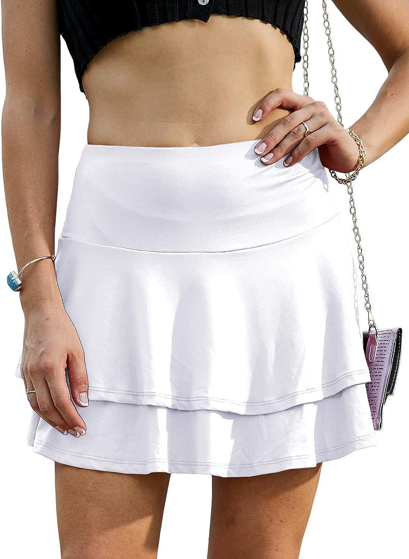 Doublju Womens Flower Pattern Style Mini Skirt at  Women's Clothing store