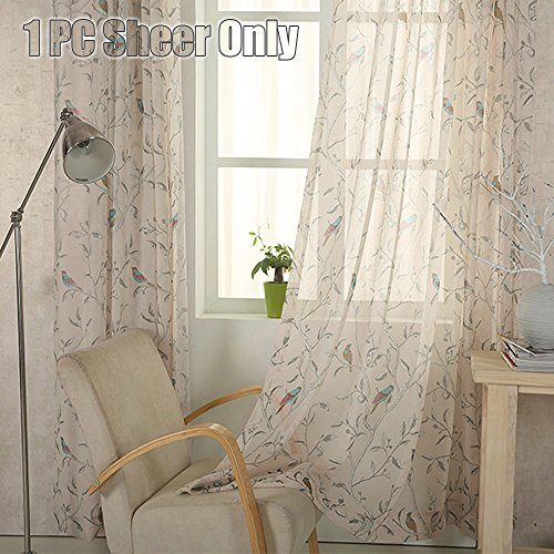 WINYY Rustic Style Bird Flowers Pattern Design Sheer Tulle Voile Curtain Rod Pocket Top Bedroom Living Room Bedroom Kitchen Bay Window Hot Sale Blind ,1 Panel W39 x H63 inch (1 Bedroom Sale For)
