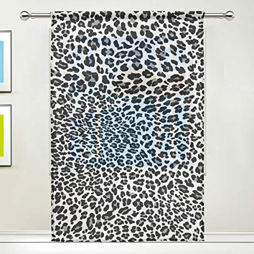 Sheer Curtains Black White Panther Leopard Skin Rod Pocket Sheer Voile Window Curtain Panels for Bedroom & Living Room, 55 x 84 Inch-1 - Curtain Panel Leopard Sheer