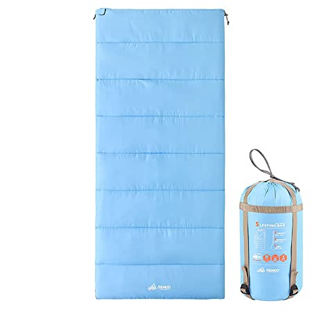 SEMOO Sleeping Bag, Portable Lightweight Comfort Water Resistant Envelope Sleeping Bags with Compression Sack