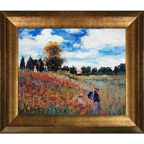 overstockArt Monet Poppy Field in Argenteuil Oil Painting Artwork with Athenian Antique Gold Finish - Antique Painting Frames