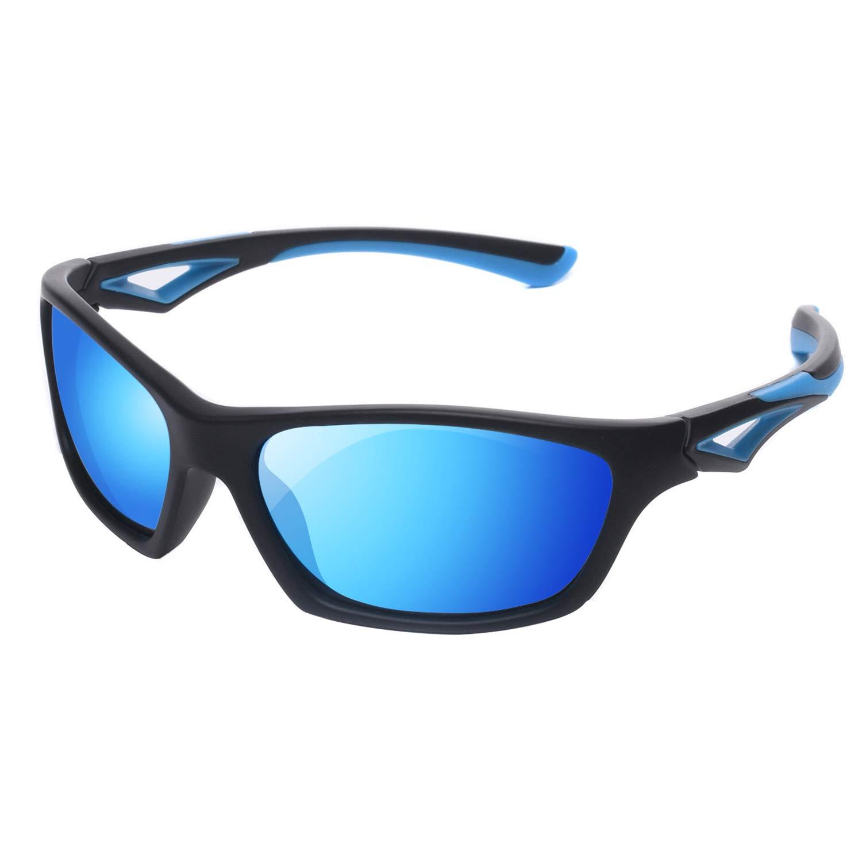 YAMAZI Kids Polarized Sunglasses Sports Fashion For Boys Girls Toddler Baby and Children (Black&blue   Blue Mirrored Lens, Gray)
