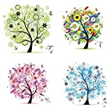 Labellevie 4pcs Counted Cross Stitch Embroidery Kit DIY Needlework 45cm x 45cm: Tree of Life