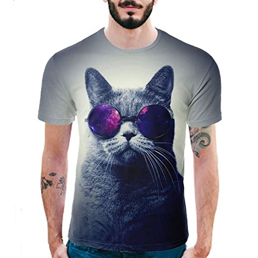 Easytoy Mens Womens 3D Print Hipster Cool Cat Short Sleeve T Shirt Casual Graphics Tees (