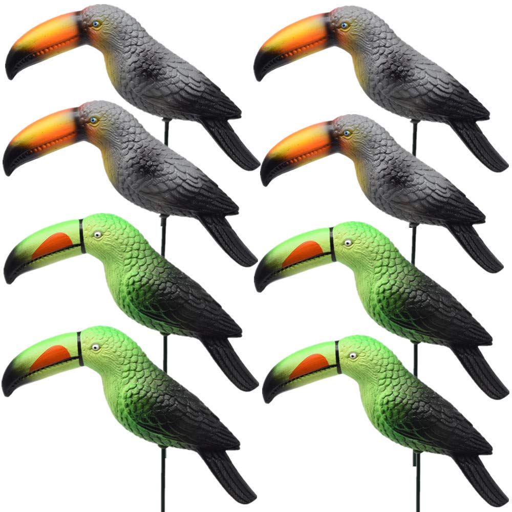 Toucan Bird Garden Stakes Christmas Decorations Birthday Party Decorative Window Ornaments Outdoor Lawn Yard Decor Patio Accessories Art Lover Birds Whimsical Gifts 8Pack