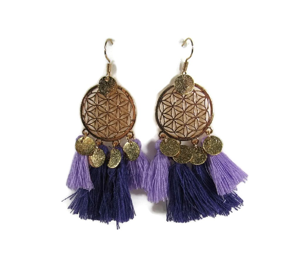 Metal Tassle Dangle Statement Earrings Vintage Retro BOHO Patterns (Purple Lilac Tassle, Gold-Tone Alloy)