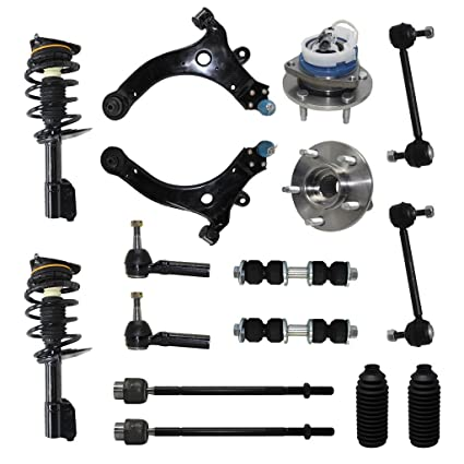 Detroit Axle - Complete 16-Piece Front Suspension Kit - 10-Year Warranty-  Front: 2 Strut Assemblies, 2 Wheel Bearings, 2 Control Arms & Ball Joints,  4