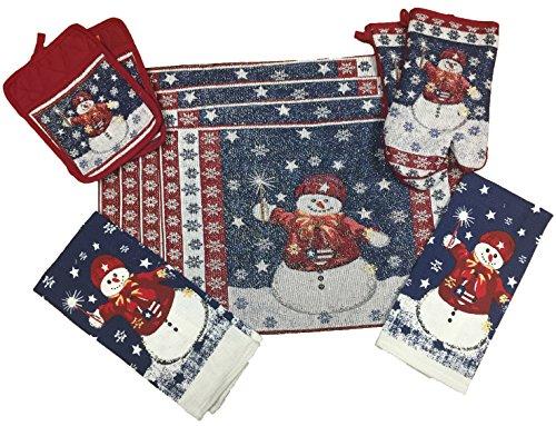 Snowman Holder Pot - 10 Piece Snowman Christmas Design Tapestry Kitchen Set, 2 Oven Mitts, 2 Pot Holders, 2 Kitchen Towels & 4 Placemats